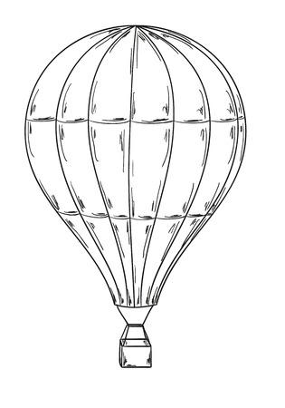 air travel: schizzo del palloncino su sfondo bianco