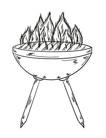 sketch of the grill with big flames on white background Vector