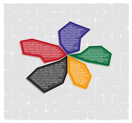 apex: infographics - five color fragment options and sample text on gray tiled background