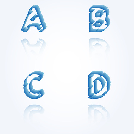 sketch jagged alphabet letters with 3d effect and shadow on white background, A, B, C, D Vector