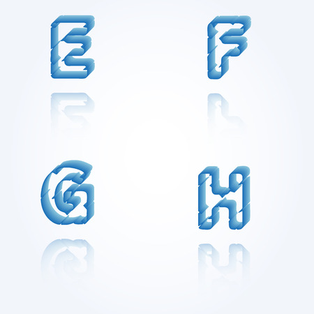 sketch jagged alphabet letters with 3d effect and shadow on white background, E, F, G, H Vector