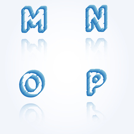 sketch jagged alphabet letters with 3d effect and shadow on white background, M, N, O, P Vector