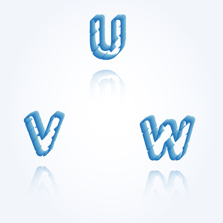 sketch jagged alphabet letters with 3d effect and shadow on white background, U, V, W Vector
