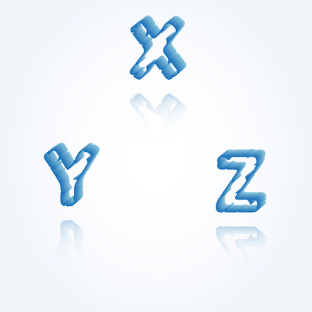 sketch jagged alphabet letters with 3d effect and shadow on white background, X, Y, Z Vector