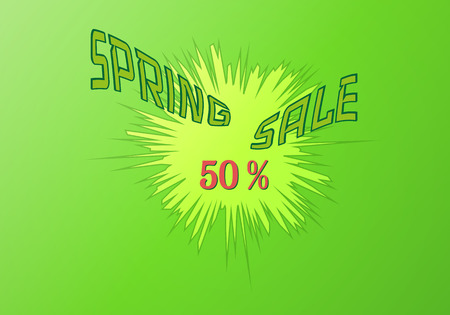 spring sale vector background with boom effect Illustration