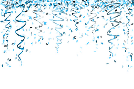 falling oval confetti with different blue colors and size