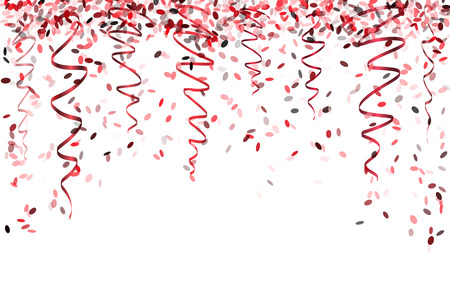 falling oval confetti with different red colors and size