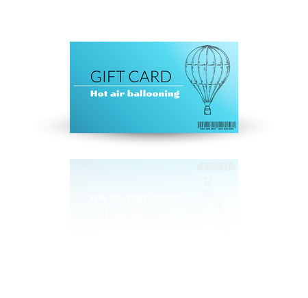 Modern gift card template vector for hot air ballooning with reflection Vector