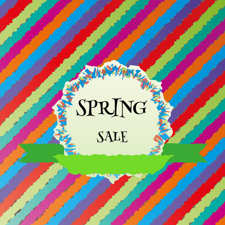 spring sale colorful vector background and ribbon Illustration