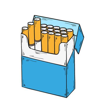 schets van de sigaretten te verpakken op een witte achtergrond, geïsoleerd Stock Illustratie