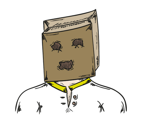 embarrassment: sketch of the man with paper bag on his head