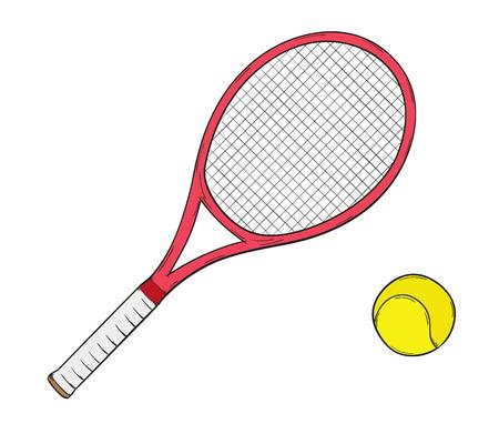 schets van het tennis racket en bal, geïsoleerd Stock Illustratie