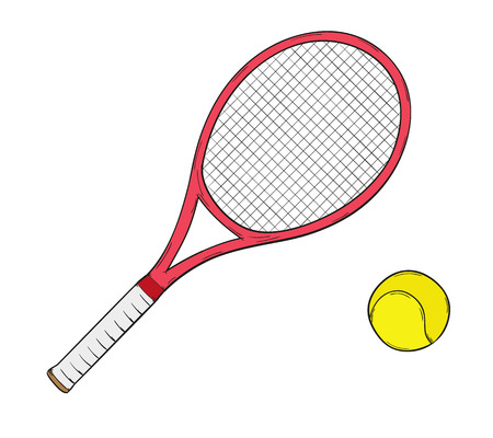 sketch of the tennis racket and ball, isolated Vector
