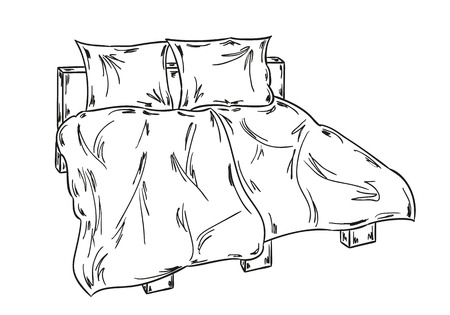 sketch of the bed on white background Vector