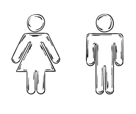 schets van de mannelijke en vrouwelijke symbolen, geïsoleerd