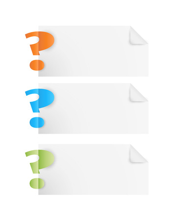 question mark symbol with blank paper on white background Vector