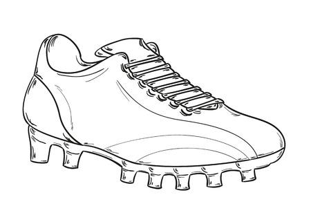 futbol soccer dibujos: esbozo de las botas de fútbol en el fondo blanco