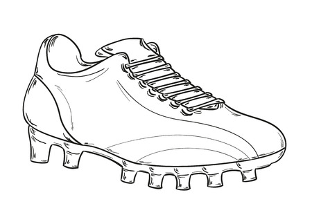 sketch of the football boots on white background Ilustração