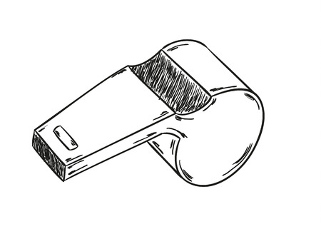 sketch of the whistle on the black background Ilustração