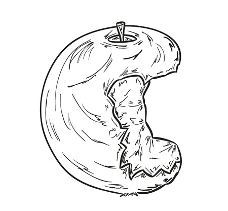 sketch of the bitten apple on white background Vector