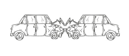 sketch of the accident of two cars on white background 版權商用圖片 - 27848369