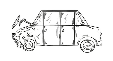 body damage: sketch of the car accident on white background Illustration