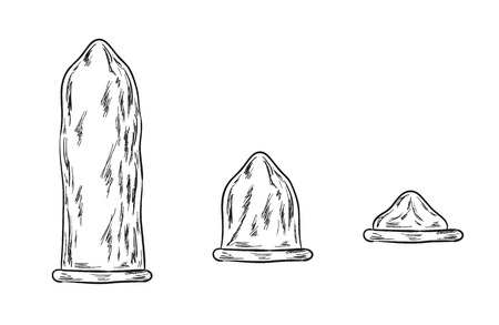 sketch of the condoms on white background Vector
