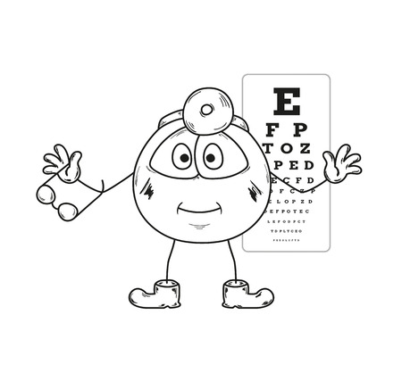 snellen: sketch of the ophthalmologist with glasses and snellen chart