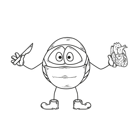 cute creature: sketch of the surgery cute creature with scalpel and heart