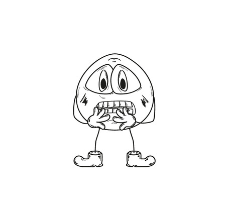 sketch of the frightened emoticon on white background Vector