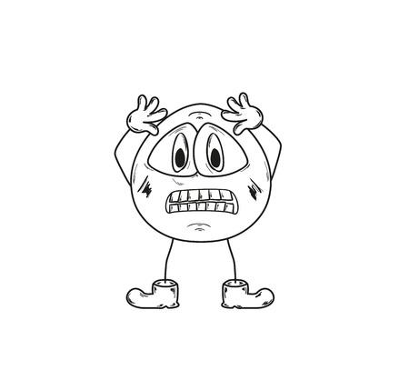 schets van de paniek emoticon op witte achtergrond