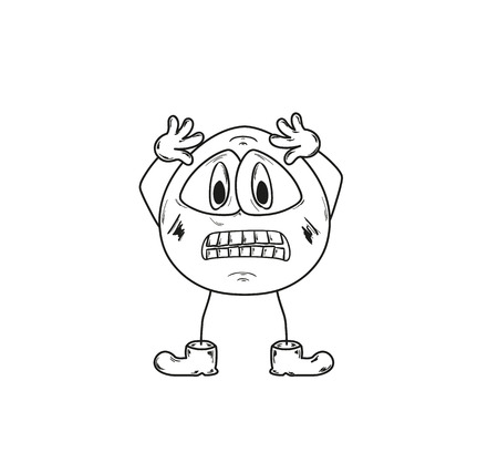 sketch of the panic emoticon on white background