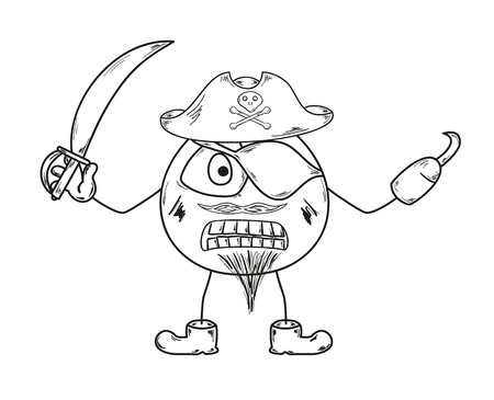 sketch of the pirate on white backgroud Vector