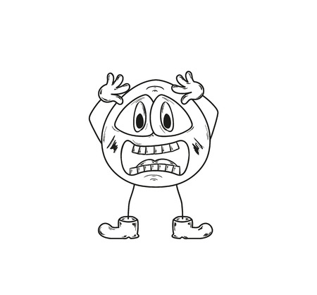 sketch of the shocked emoticon on white background Vector