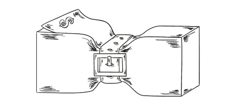 sketch of the money pack with belt on white background Vector