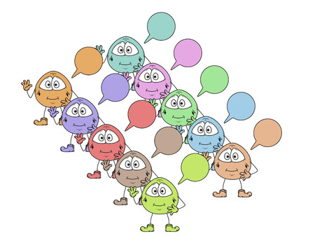color cute creatures and many speak bubbles Vector