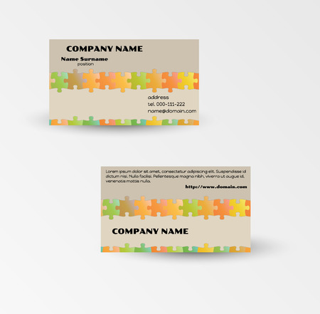 modern puzzle business card template with puzzle pieces Vector