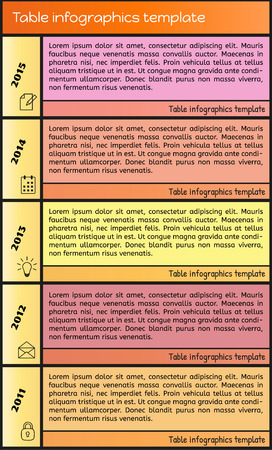colo: colo table infographic with different colors Illustration