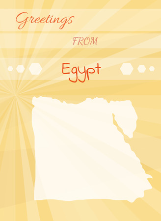 yellow greetings card from egyptand map of the egypt Vector