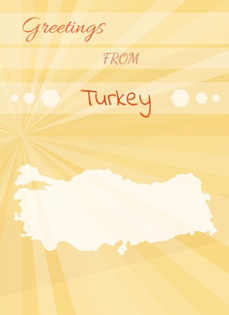 Vintage greeting card from ankara turkey vector illustration yellow greetings card from turkey and map of the turkey vector m4hsunfo