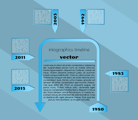 timeline infographic template with blue elements and blue background Vector