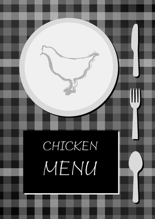 chicken menu with black and white colors, squared cloth with plate, food, knife, fork and spoon Vector