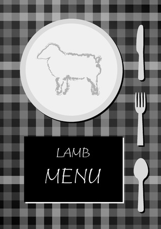 lamb menu with black and white colors, squared cloth with plate, food, knife, fork and spoon Vector