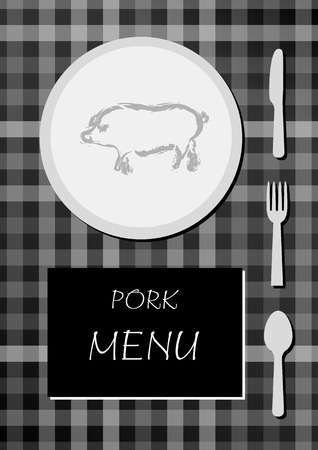 pork menu with black and white colors, squared cloth with plate, food, knife, fork and spoon Vector
