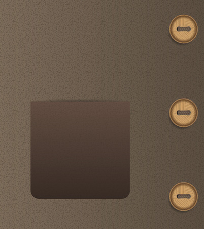 empty pocket: brown empty pocket and three buttons and brown cloth Illustration