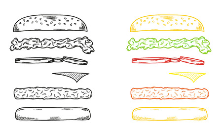 sketch of the hamburger on white background Vector