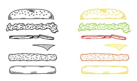 sketch of the hamburger on white background Illustration