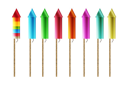eight firework rockets with different colors, isolated Vector