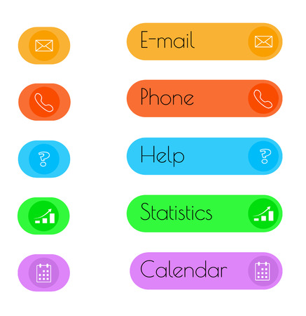 vector illustration of the color flat button  Vector
