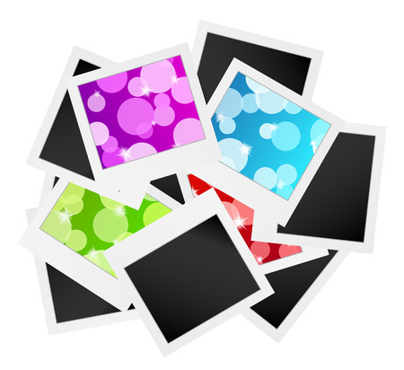 white polaroids: vector illustration, collection of the photo frames with bubbles or blank